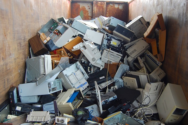 e-waste computer scrap green atmosphere